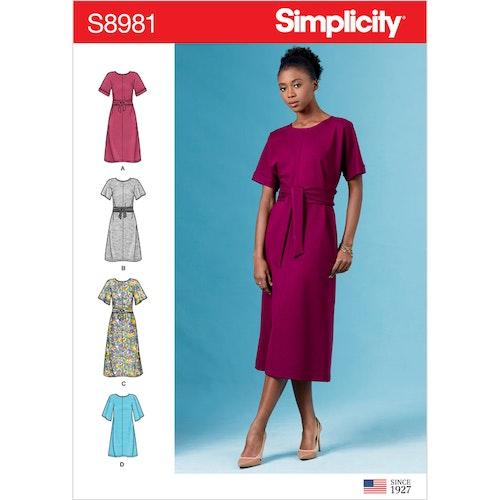 Simplicity 8981 H5 Dam Storlek 32-40 Klänning