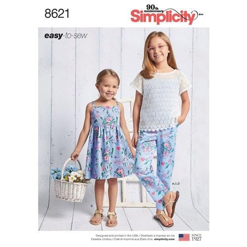 Simplicity 8621 K5 Barn storlek 7-14 Flera plagg