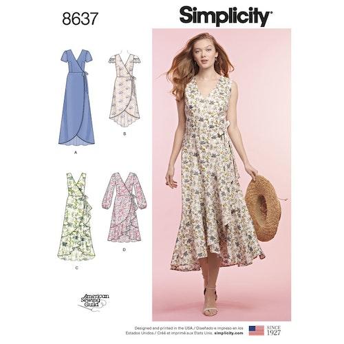 Simplicity 8637 H5 Dam Storlek 32-40 Klänning