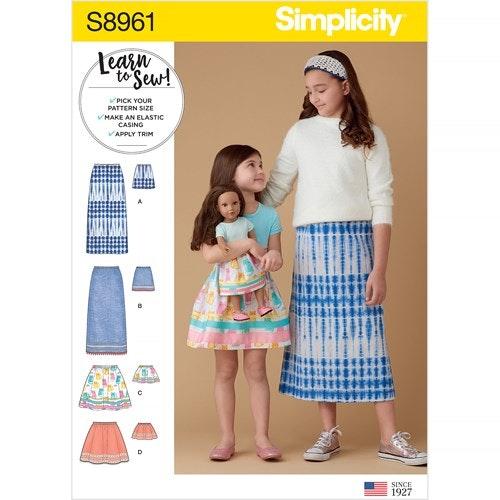 Simplicity 8961 K5 Barn Storlek 7-14 Kjol barn / docka