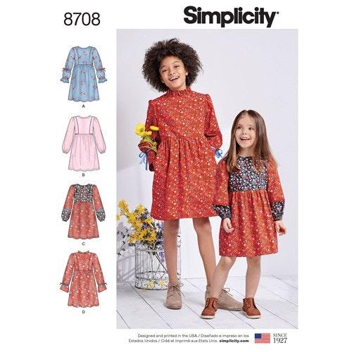Simplicity 8708 K5 Barn storlek 7-14 Klänning