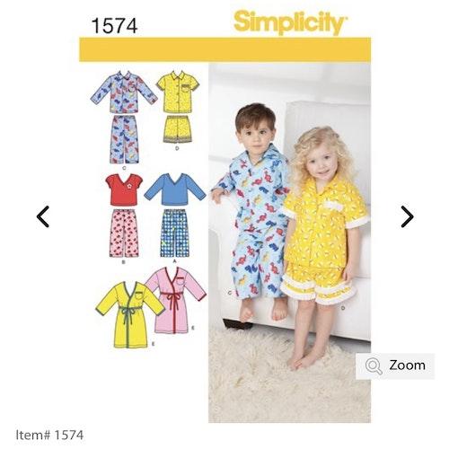 Kopia Simplicity 1574 A Barn storlek 1/2-4 Flera plagg