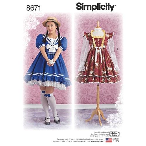 Simplicity 8671 P5 Dam Storlek 38-46 Lolita klänning