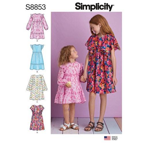 Simplicity 8853 K5 Barn Storlek 7-14 Klänning