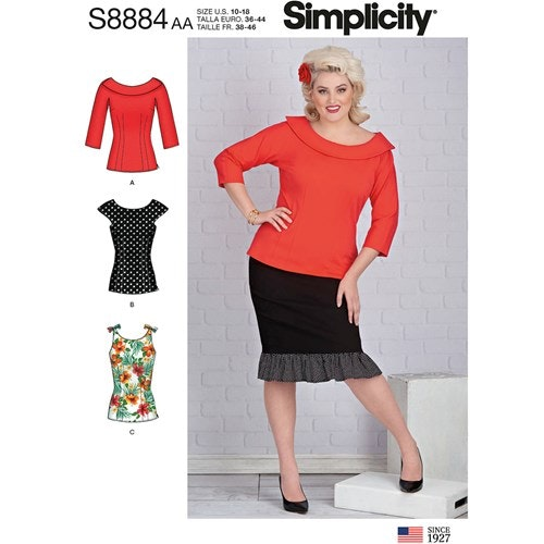 Simplicity 8884 BB Dam Storlek 46-54 Blus Topp