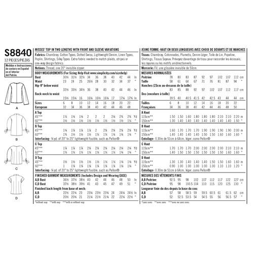 Simplicity 8840 R5 Dam Storlek 40-48 Blus