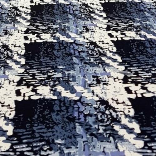 Viskostrikå Tryckt blått mönster som ser vävt ut