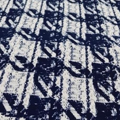 Viskostrikå Tryckt blått mönster som ser ut som bouclé