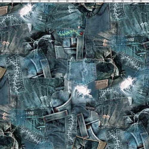 Bomullstrikå - Fototryck av jeans