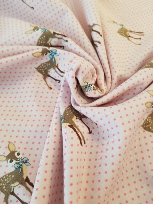 Bomullstrikå - Söta rådjur, rosa botten