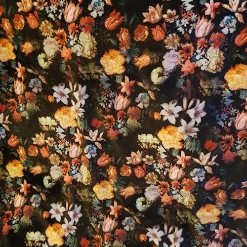 Velour - Svart med blommor