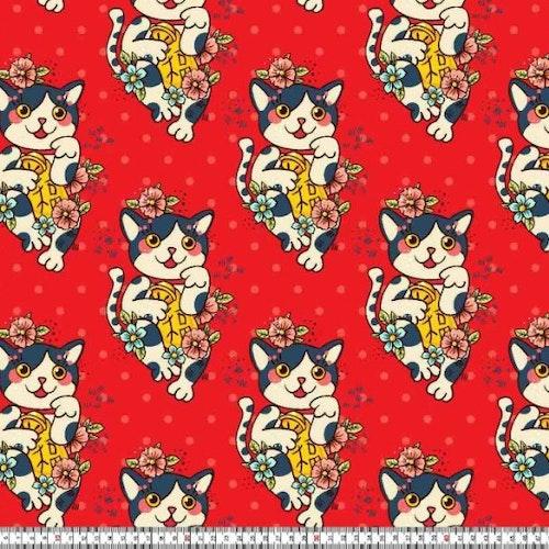 Prickar och Katter på röd botten