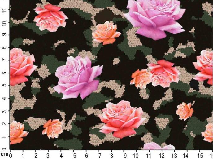 Bomullstrikå - Rosor på Camouflage botten