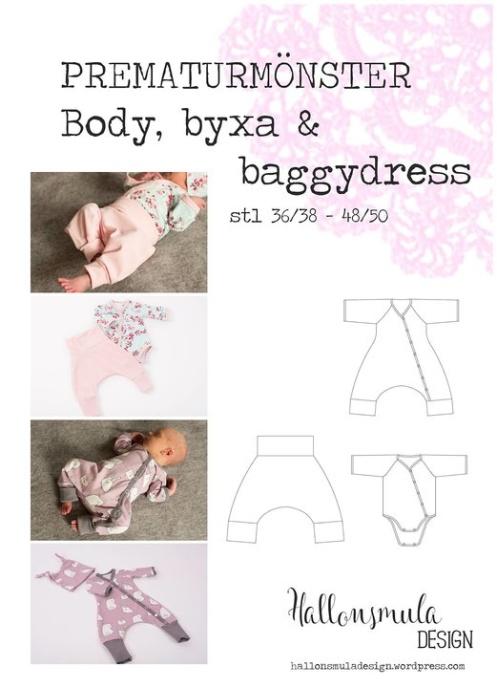 Hallonsmula Prematurmönster Body, byxa & Baggydress