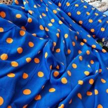 Peachskin Blå med orange prickar
