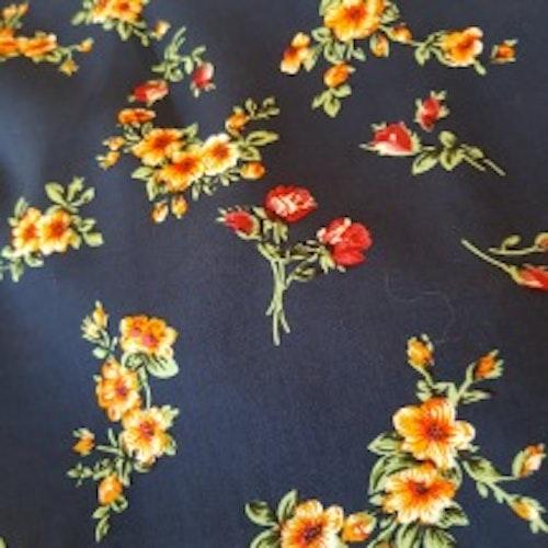 Vävd viskos - Mörkblå med blommor