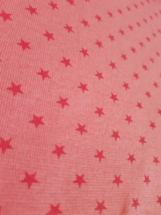 Muddväv - Rosa med cerise stjärnor