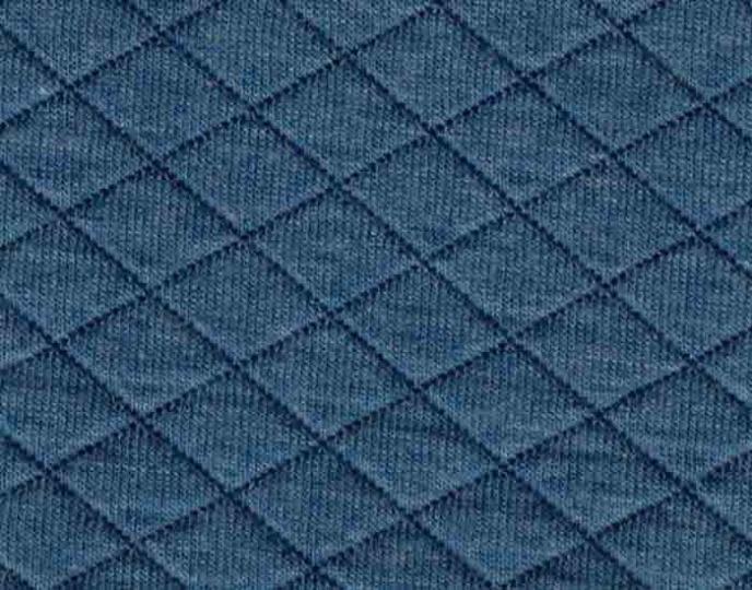 Quiltad trikå - Ljusare jeansblå