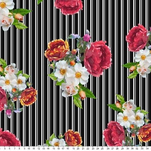 Bomullstrikå - Kritstreckrandig med blommor