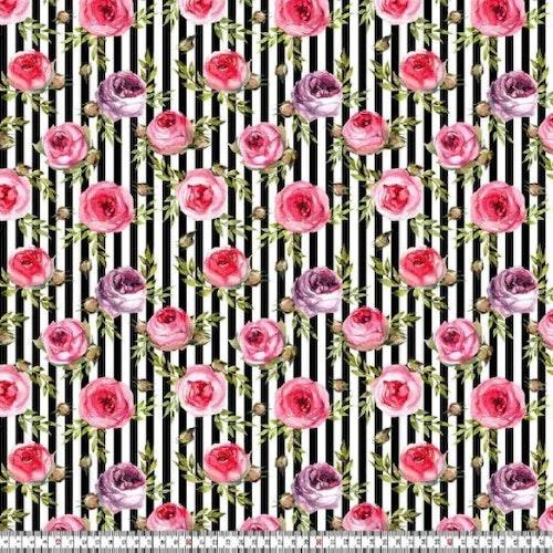 Blomknoppar på svart/vit rand