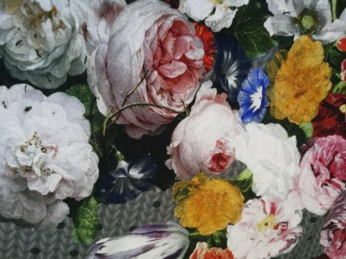 """STENZO Bomullstrikå - Rapport """"stickat"""" med blommor"""