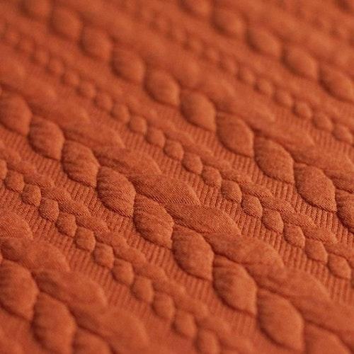 Jaquard - Kabelstickad Terrakotta