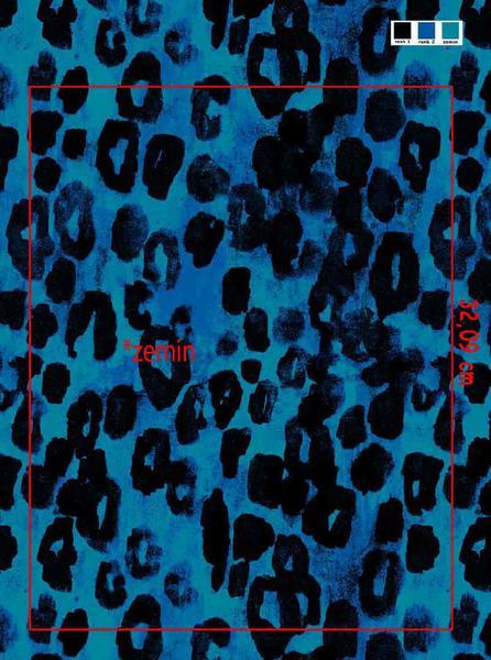 Bomullstrikå - Leopard Blå