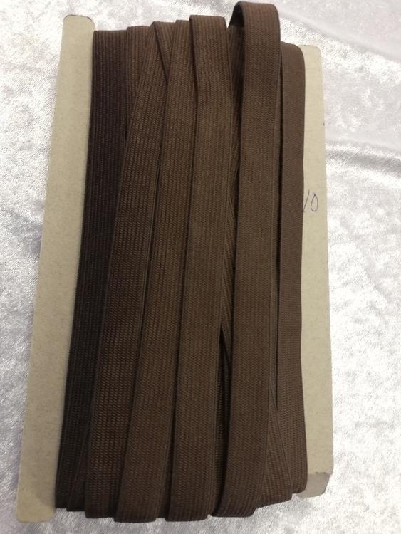 Färgad resår 15 mm bred, säljs per decimeter Nr 10 BRUN