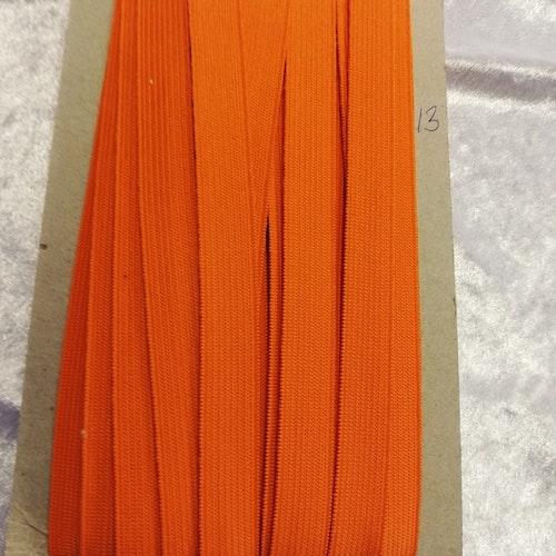 Färgad resår 15 mm bred, säljs per decimeter Nr 13 ORANGE