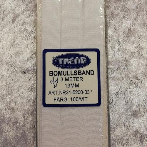 Bomullsband / Handduksband 13 mm VIT