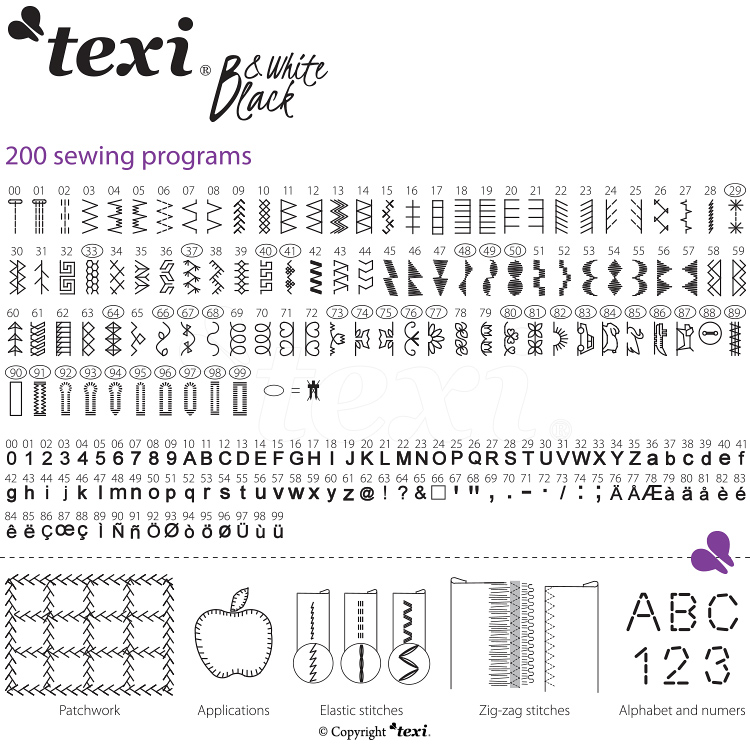TEXI - Black and White (Bow) Inkl. sybord, Texi trådlåda och Schmetz universalnålar