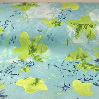 Matt satin -Ljust Turkos med kiwifärgade blommor