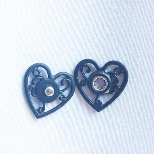 Tryckknapp att sy i, svart hjärta, 2-pack