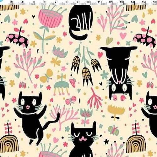 Bomullstrikå - Katter på puderbeige botten