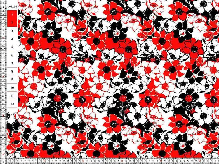 Bomullstrikå - Röd svart vita blommor