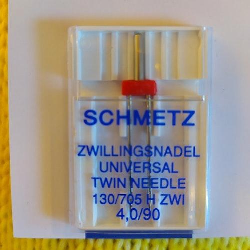 Nål TEXI - Schmetz Tvillingnål 4 mm Universal Röd för vävt tyg, stl 90