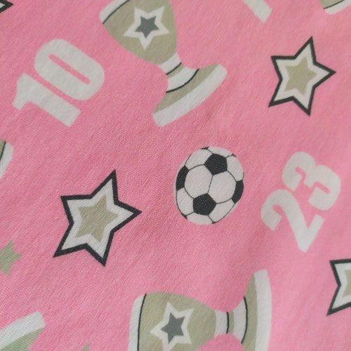Bomullstrikå Glunz - Rosa Fotbollar