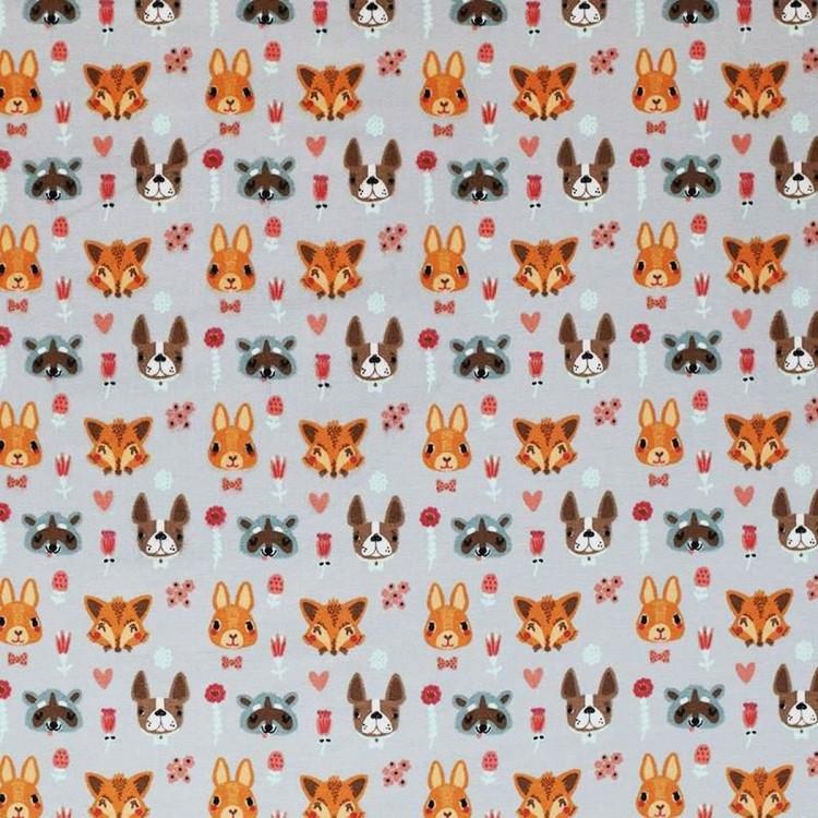 Bomullstrikå - Djur med öron Grå