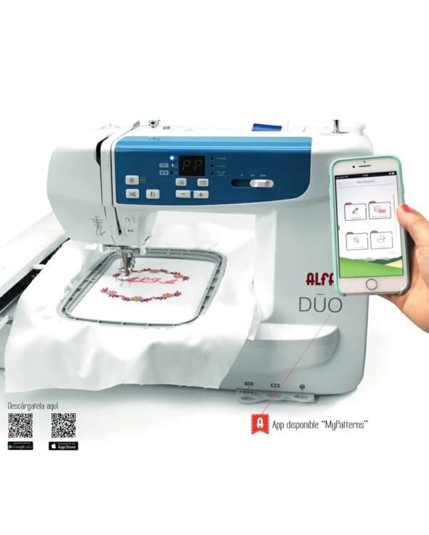 ALFA Hogar DUO Symaskin & Broderimaskin som styrs med en app, inkl spoltråd