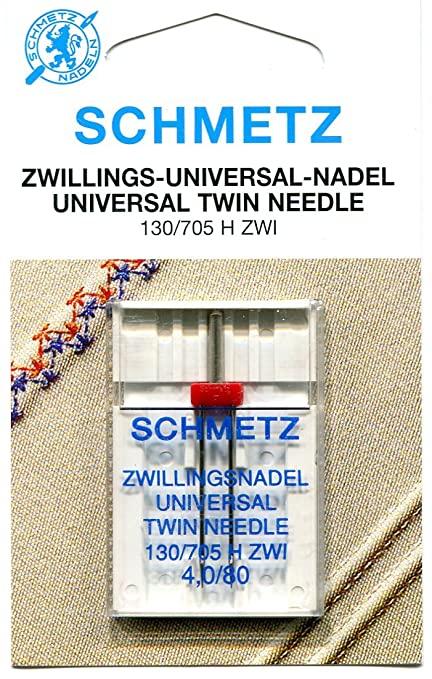 Nål TEXI - Schmetz Tvillingnål 4 mm Universal Röd för vävt tyg, stl 80