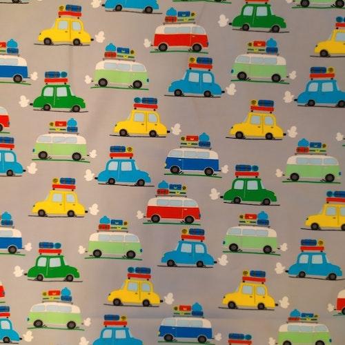 Bomullstrikå Glunz - Bilar på grå botten