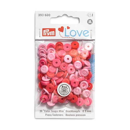 Colour snaps - LOVE mini Runda, 9mm rosa med dekor