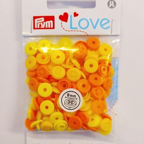 Colour snaps - LOVE mini Runda, 9mm gul