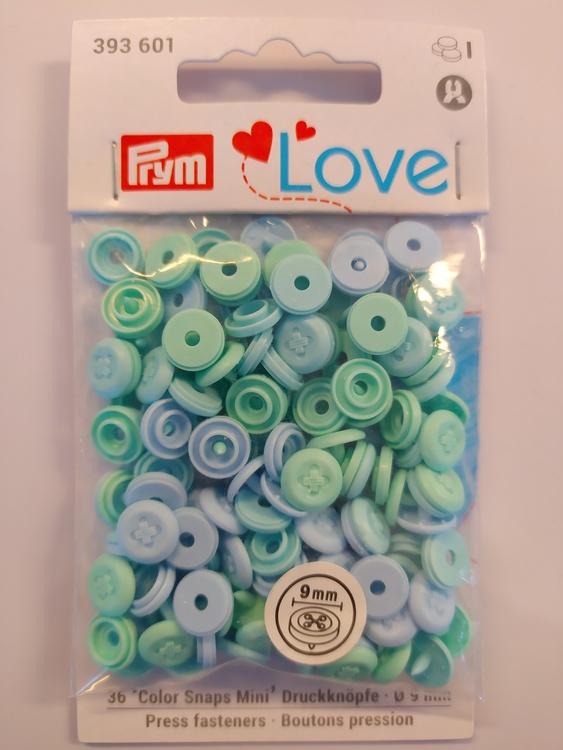 Colour snaps - LOVE mini Runda, 9mm mint/blå