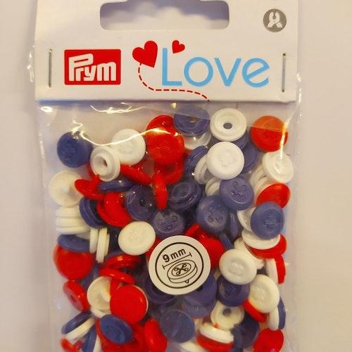 Colour snaps - LOVE mini Runda, 9mm marin/röd/vit