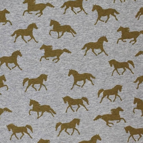 """Bomullstrikå - Grå botten, hästar i """"guld"""""""