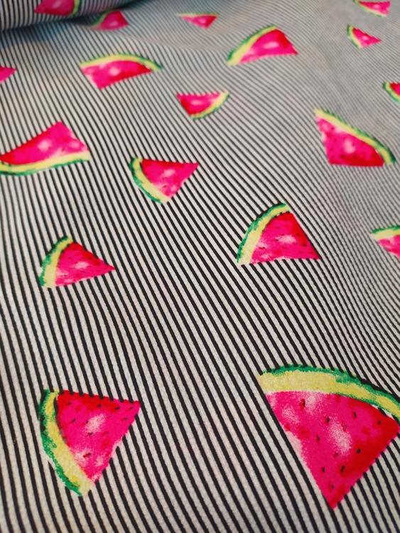 Blus/klänningstyg Kritstreckrandig med meloner
