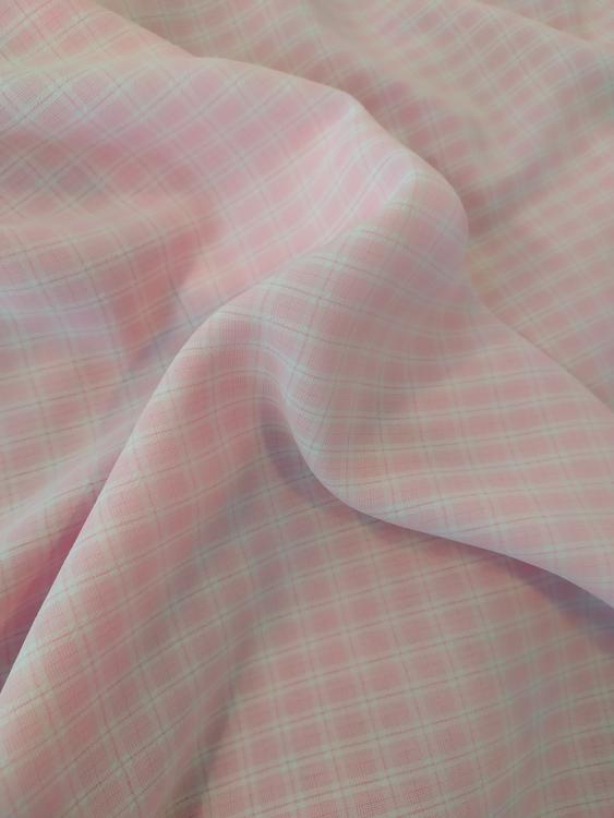 Svagt krinklad blus/skjorta/klänning/kjol- Rosa Rutor