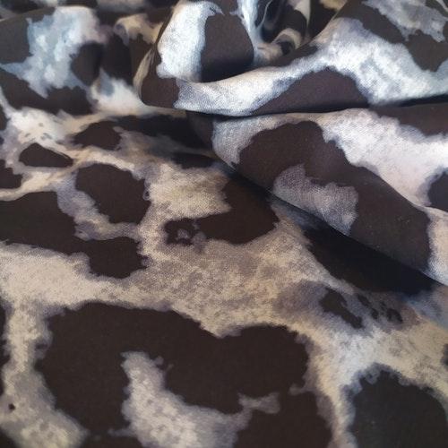Vävd viskos - Grå Leopard