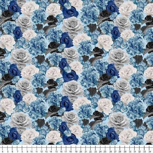 Bomullstrikå Blå och grå blommor
